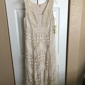 Reba Beaded Lace Embroidered Crocheted Dress NWT